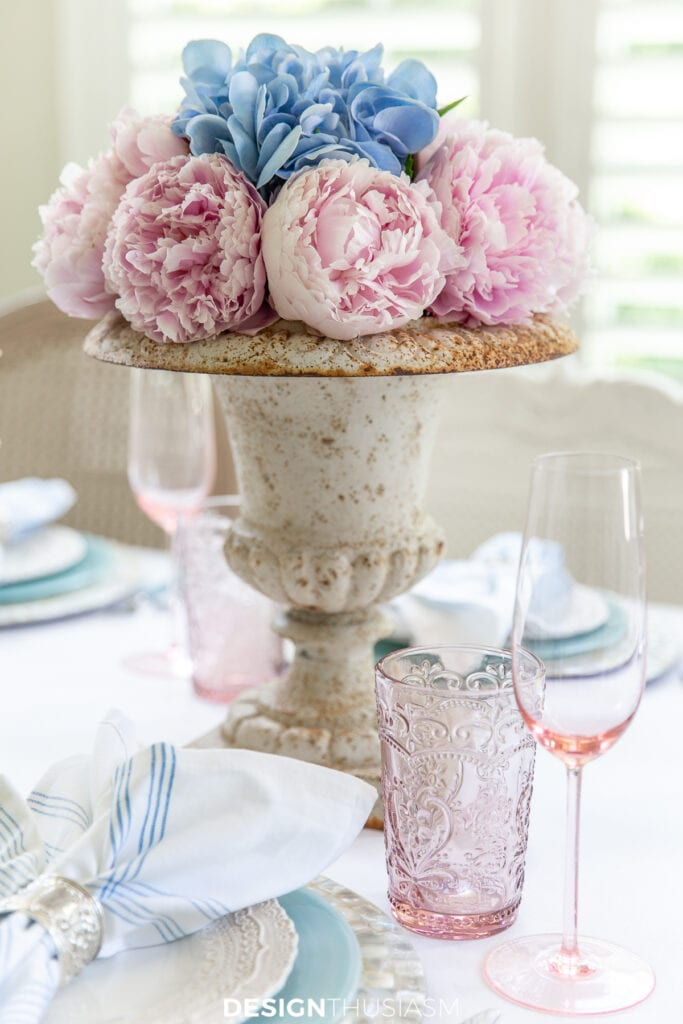 retro summer table with peonies