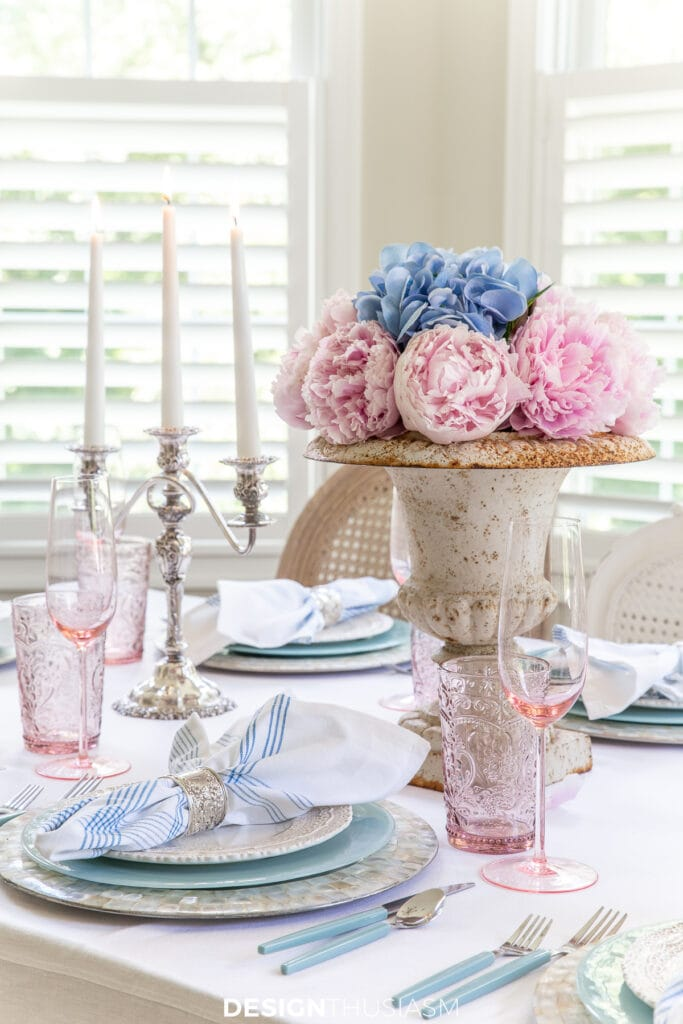 retro summer table with mid-century pastels