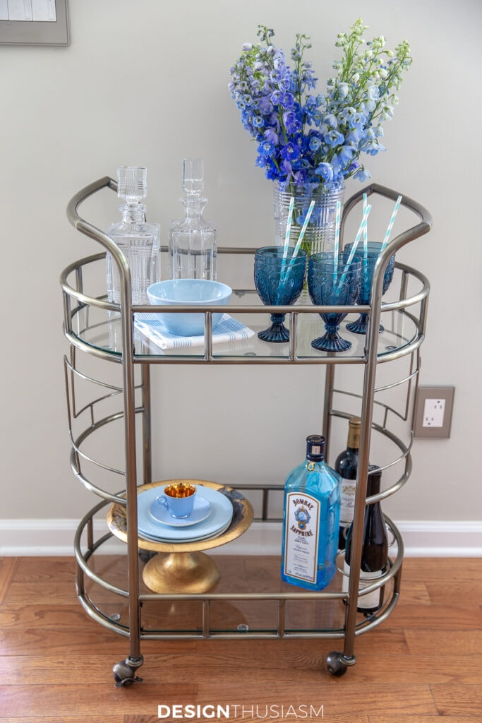Welcoming overnight guests bar cart