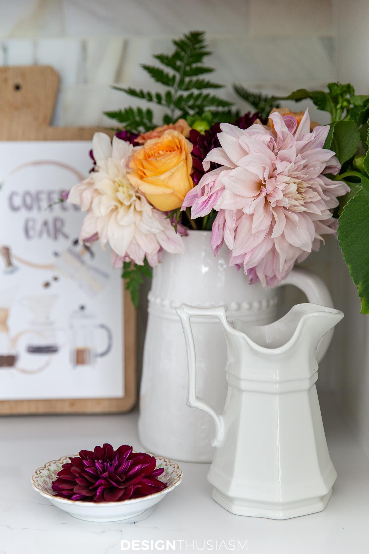 kitchen coffee station flowers