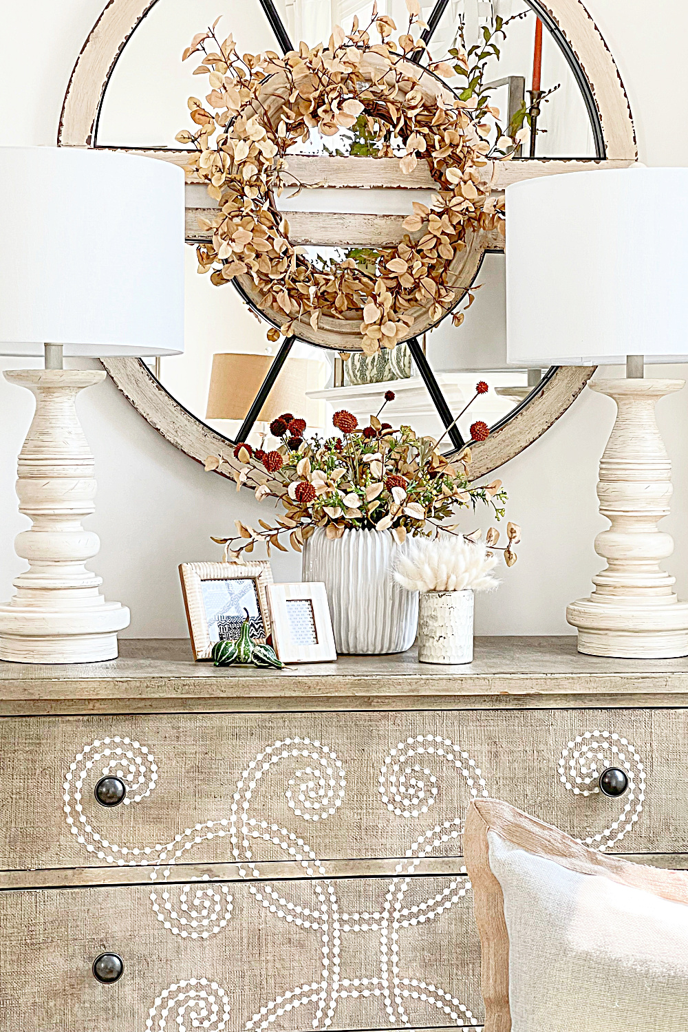 FALL HOME TOUR- blond wreath above the curlacue chest
