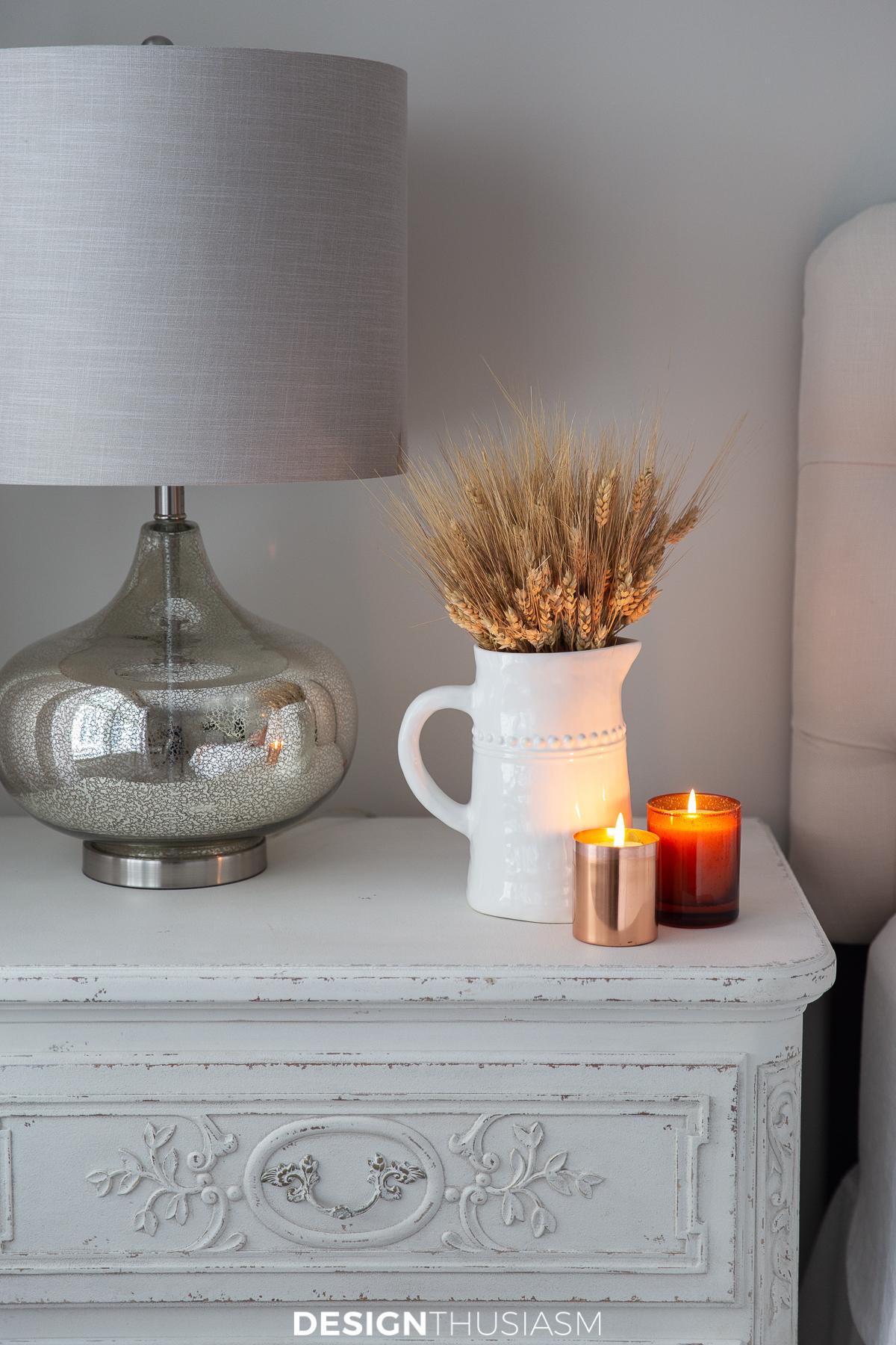 Fall bedroom decor nightstand
