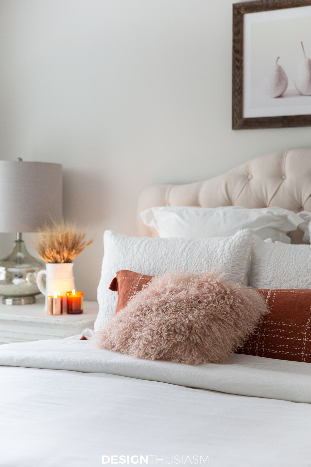 Fall bedroom decor blush and terracotta