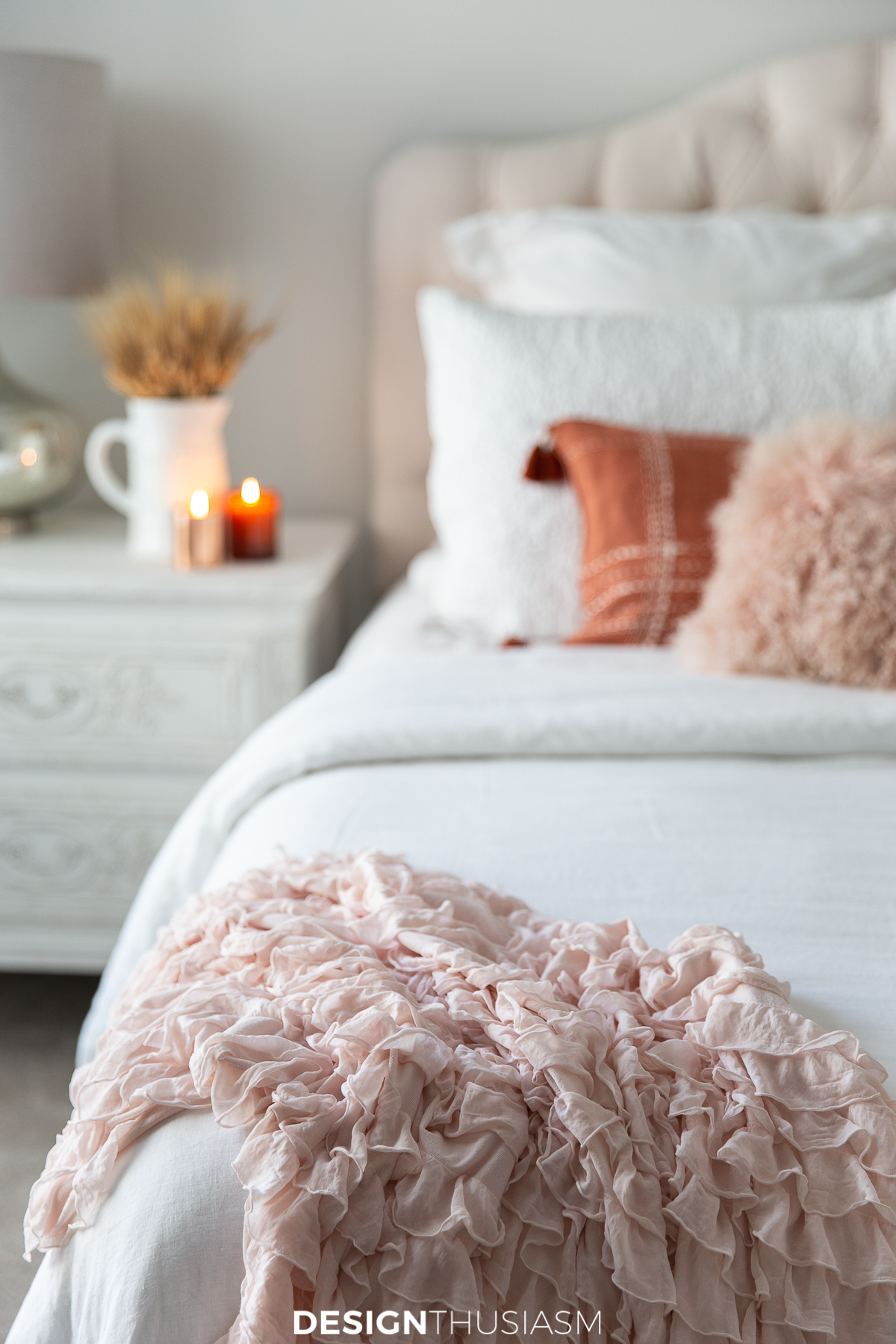Fall bedroom decor with blush pink