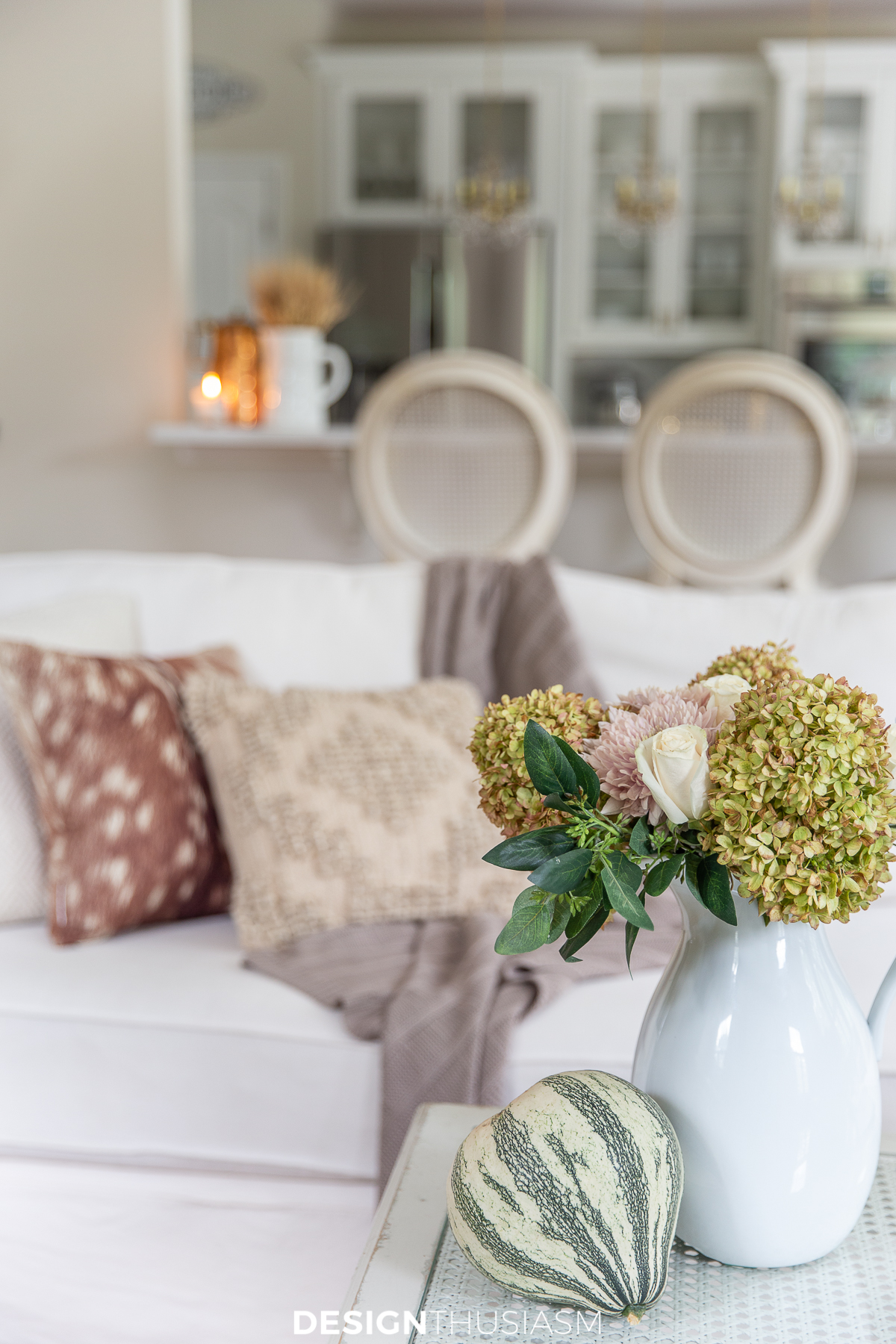 affordable fall decor in the family room