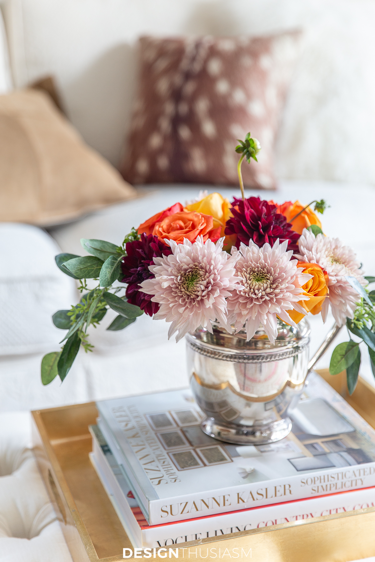 fall living room floral