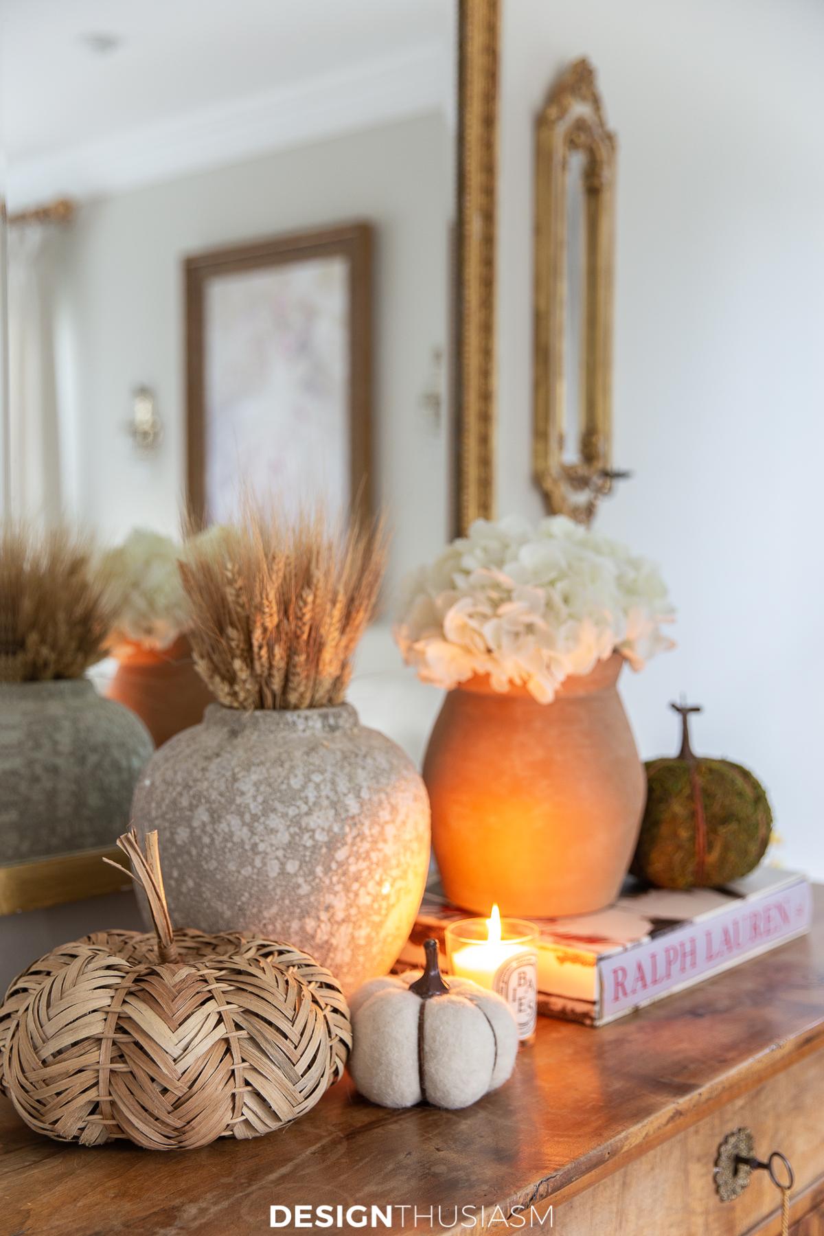 fall living room vignette