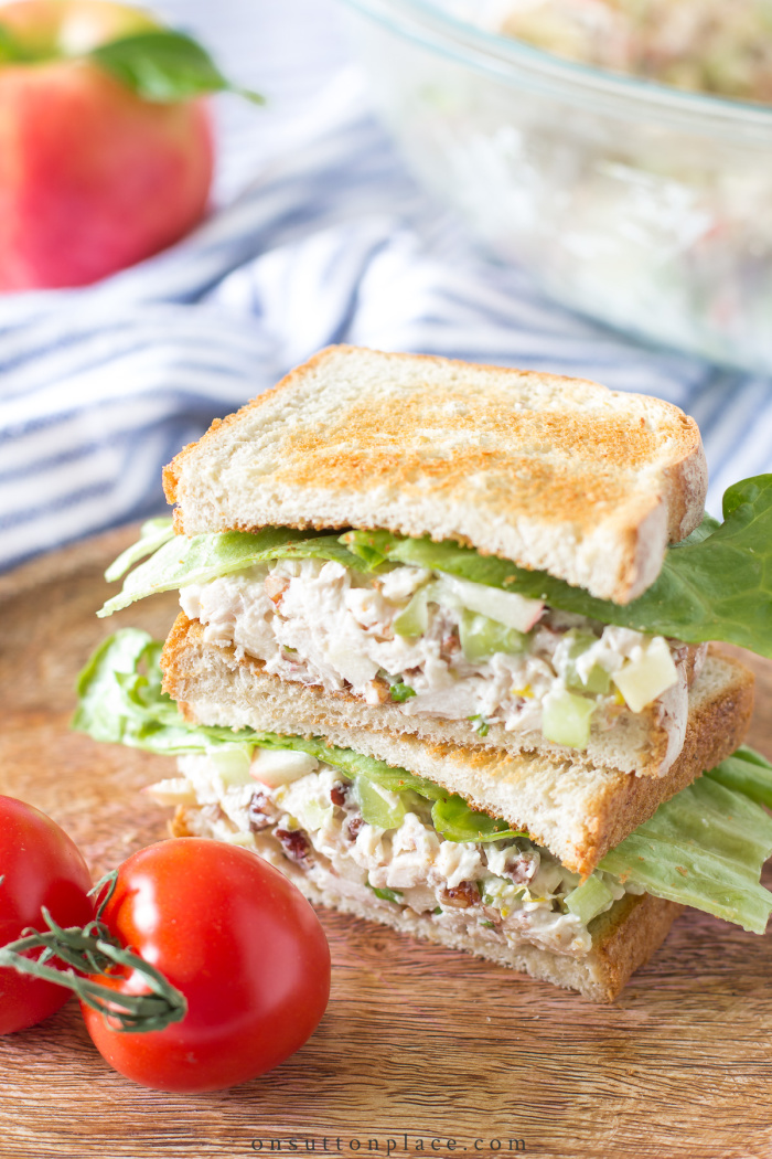 chicken salad with apples sandwich stacked